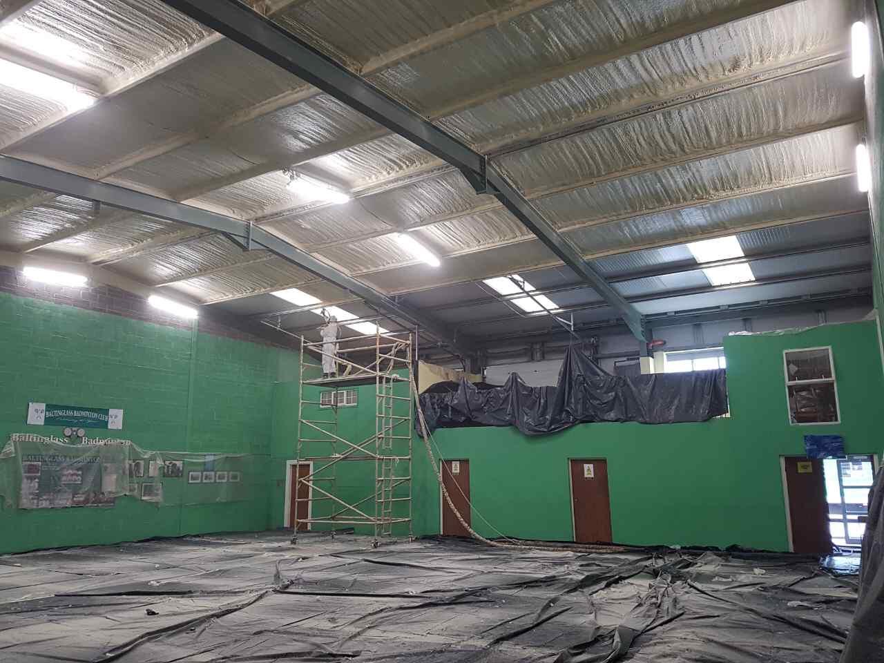 spray foam badminton court